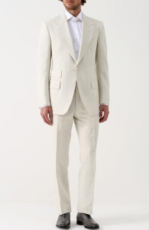 Льняной костюм с пиджаком на двух пуговицах Tom Ford. Цвет: кремовый