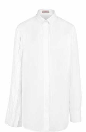 Хлопковая блуза прямого кроя MRZ. Цвет: белый