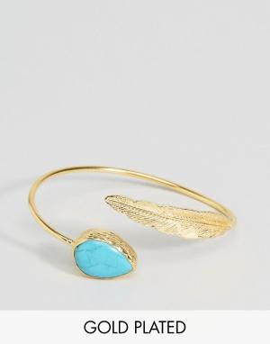 Ottoman Hands Браслет с полудрагоценным камнем и пером. Цвет: золотой