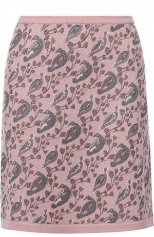 Вязаная мини-юбка с принтом в виде птиц Tak.Ori. Цвет: розовый