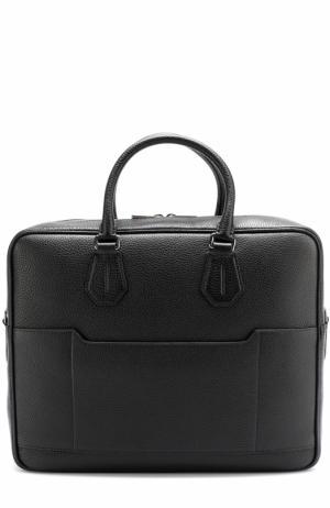 Кожаная сумка для ноутбука с плечевым ремнем Bally. Цвет: черный