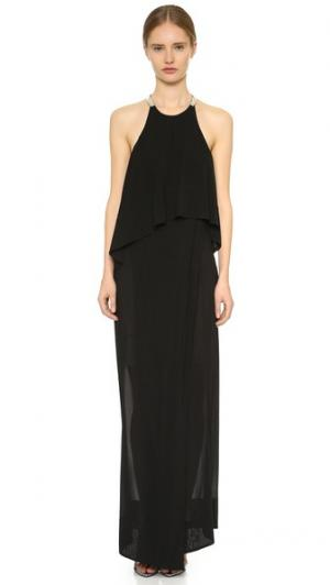 Вечернее платье до пола с американской проймой Donna Karan New York. Цвет: голубой