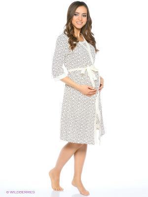 Комплект для беременных и кормления ( халат, ночная сорочка) 40 недель. Цвет: молочный