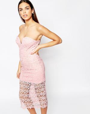 Rare Opulence Кружевное платье миди в стиле кроше. Цвет: розовый