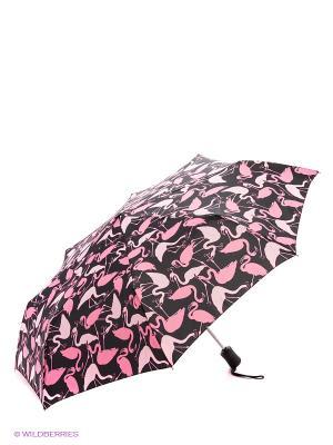 Зонт женский автомат Fulton. Цвет: черный, розовый
