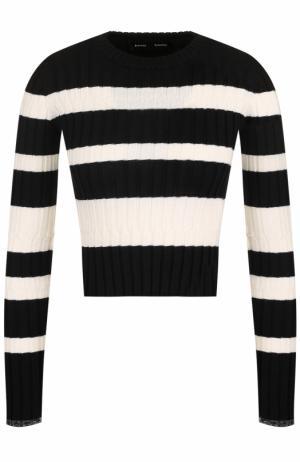 Пуловер фактурной вязки в полоску Proenza Schouler. Цвет: черно-белый
