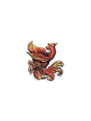 Временная переводная татуировка Феникс МнеТату. Цвет: голубой, сиреневый, фиолетовый, красный, желтый, черный, синий, зеленый, морская волна