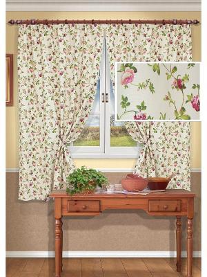 Комплект штор Flora-S Kauffort. Цвет: кремовый, красный
