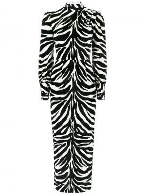 Платье с высокой горловиной и зебровым узором Alessandra Rich. Цвет: чёрный