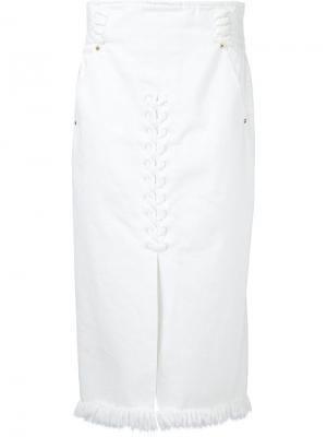 Frayed hem skirt Mame. Цвет: белый