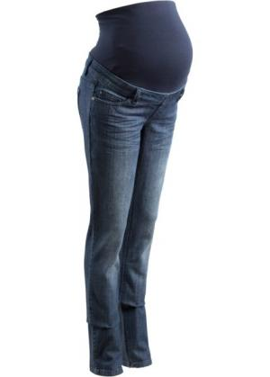 Мода для беременных: джинсы с прямыми брючинами, cредний рост (N) (темно-синий «потертый») bonprix. Цвет: темно-синий «потертый»