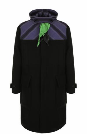 Пальто из смеси шерсти и кашемира с капюшоном платком J.W. Anderson. Цвет: черный