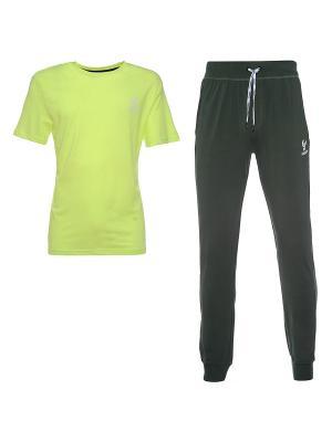 Комплект: брюки, футболка Freddy. Цвет: хаки, серый