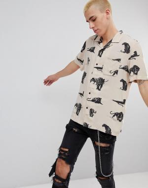 HUF Рубашка с принтом. Цвет: светло-бежевый
