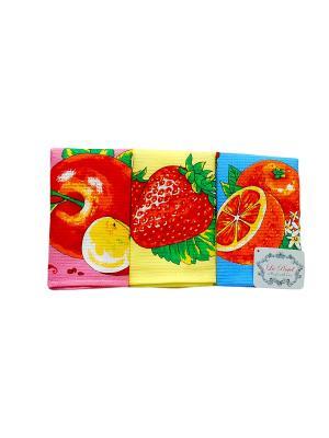Набор вафельных полотенец Fruts 3 предмета 35х60 La Pastel. Цвет: голубой, желтый, розовый