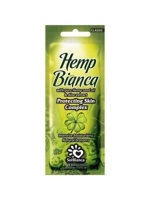 Крем для загара в солярии  Hemp Bianca с маслом семян конопли и экстрактом алоэ. Solbianca. Цвет: бежевый