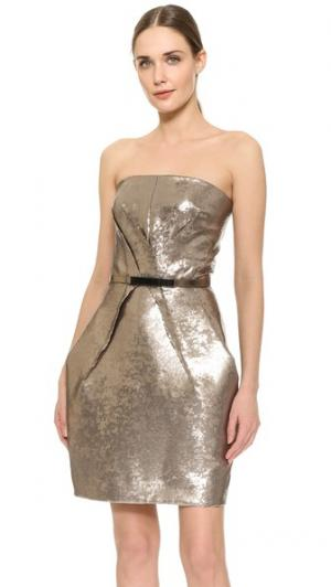 Струящееся платье-тюльпан с поясом блестками KAUFMANFRANCO. Цвет: розовое золото