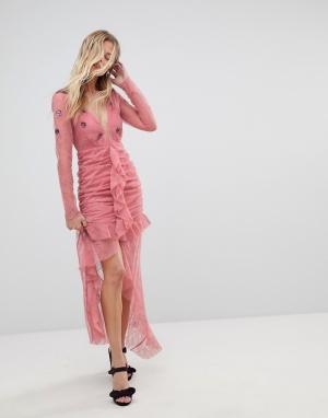 For Love And Lemons Кружевное платье миди с глубоким вырезом. Цвет: розовый
