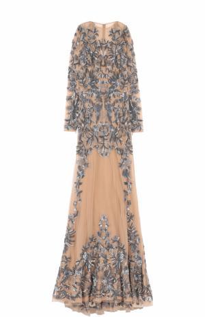 Приталенное платье-макси с вышивкой Zuhair Murad. Цвет: бежевый