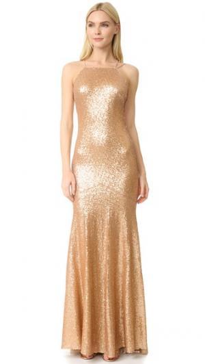 Платье без рукавов Jessica со шлейфом Theia. Цвет: матовое розовое золото