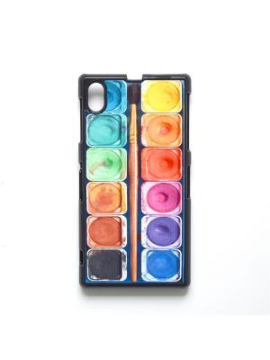 Чехол для Sony Xperia Z1 Акварель с кисточкой Boom Case. Цвет: антрацитовый