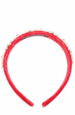 Текстильный ободок с кристаллами David Charles. Цвет: красный
