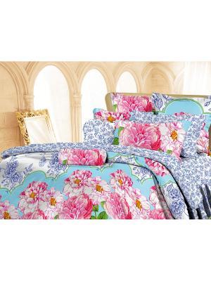 Комплект постельного белья Евро перкаль Жоржетта Романтика. Цвет: голубой, розовый