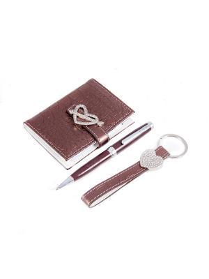Подарочный набор: ручка, визитница, брелок Русские подарки. Цвет: коричневый