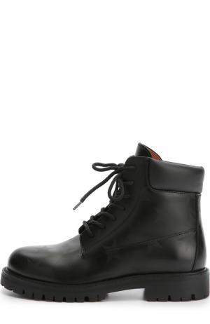 Кожаные ботинки Hologram Stars с принтом Valentino. Цвет: черный