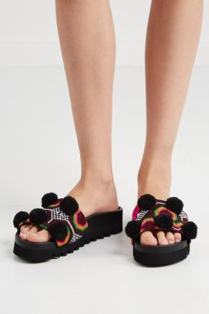 Хлопковые сандалии Namibia Joshua Sanders. Цвет: черный, оранжевый, пурпурный