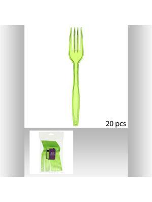 Набор вилок пластиковых для пикника из 20 шт JJA. Цвет: зеленый