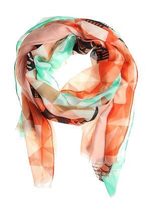 Платок Migura. Цвет: оранжевый, бирюзовый, черный