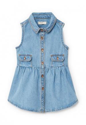 Платье джинсовое Mango Kids. Цвет: голубой