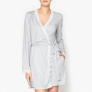 Платье домашнее с кружевной вставкой La Redoute Collections. Цвет: серый меланж