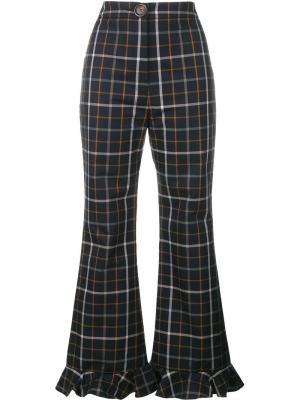 Клетчатые брюки с оборками снизу A.W.A.K.E.. Цвет: синий