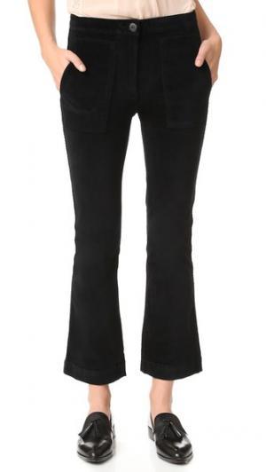 Укороченные брюки W3 с накладным расклешенным элементом 3x1. Цвет: голубой