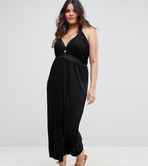 Boohoo Plus Пляжное платье макси с глубоким вырезом и кружевной отделкой Pl. Цвет: черный