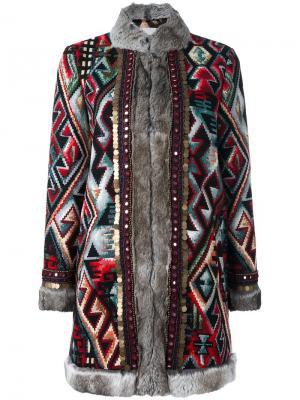 Пальто с орнаментом Bazar Deluxe. Цвет: многоцветный