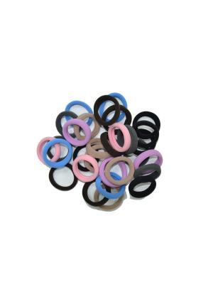 Резинка для волос 30 штук разных цветов Bizon. Цвет: голубой, коричневый, сиреневый