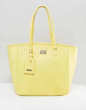 Marc B Большая желтая сумка-шоппер на молнии. Цвет: желтый