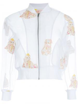 Embroidered cat cropped jacket Mikio Sakabe. Цвет: белый