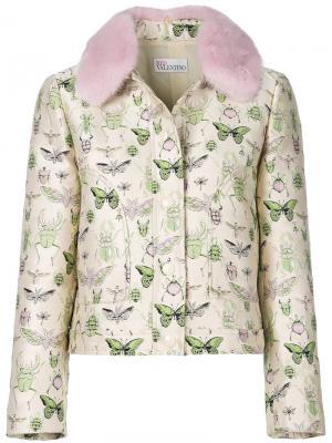 Укороченный пиджак с принтом насекомых Red Valentino. Цвет: телесный