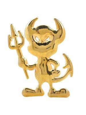 Наклейка 3D Чертик золотой WIIIX. Цвет: золотистый