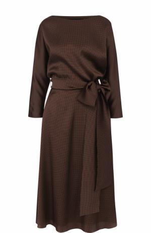 Приталенное шелковое платье-миди с поясом Alexander Terekhov. Цвет: коричневый