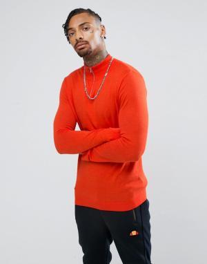 ASOS Серый хлопковый джемпер на короткой молнии. Цвет: оранжевый
