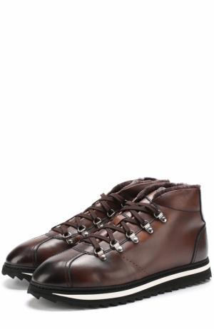 Кожаные ботинки на шнуровке с внутренней меховой отделкой Doucals Doucal's. Цвет: коричневый
