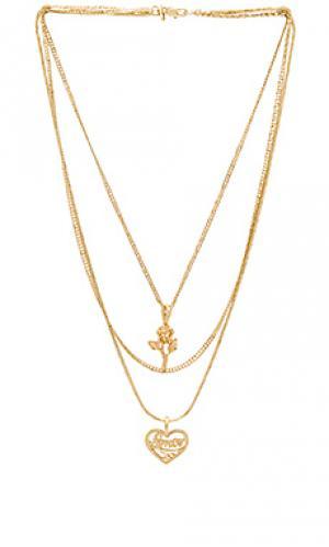 Ожерелье cielo rose & amor Vanessa Mooney. Цвет: металлический золотой