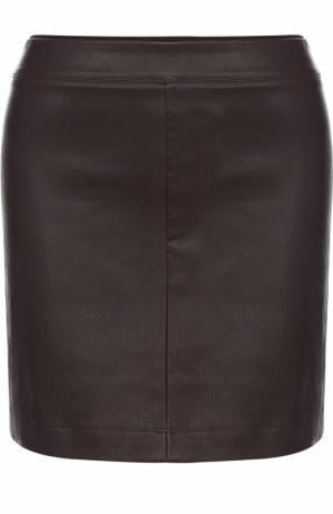 Однотонная кожаная мини-юбка Helmut Lang. Цвет: коричневый