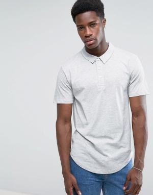 Troy Трикотажная футболка-поло с закругленным низом. Цвет: серый