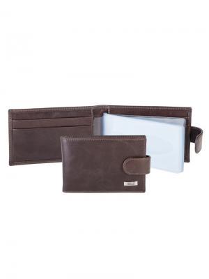 Футляр для карт с карманом Tirelli. Цвет: коричневый